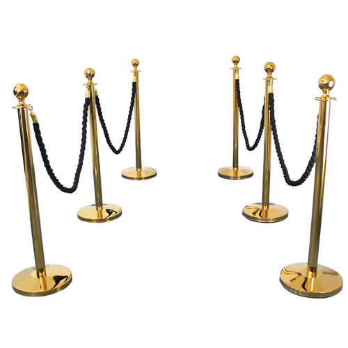 6 Prestige Brass Poles With 4 Black Braided Ropes