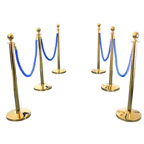 6 Prestige Brass Poles With 4 Blue Braided Ropes Product Image
