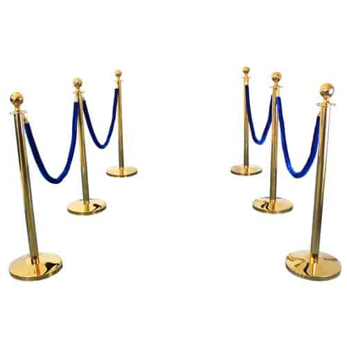 6 Prestige Brass Poles With 4 Blue Velvet Ropes Product Image