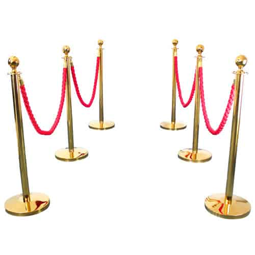 6 Prestige Brass Poles With 4 Red Braided Ropes