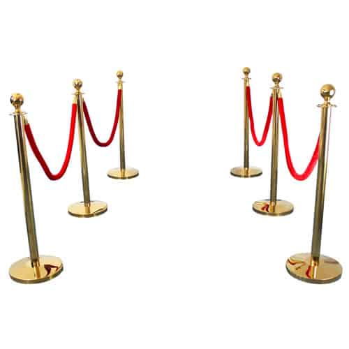 6 Prestige Brass Poles With 4 Red Velvet Ropes