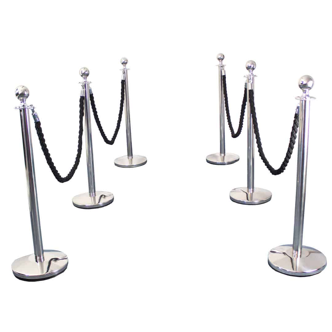 6 Prestige Chrome Poles With 4 Black Braided Ropes Product Image