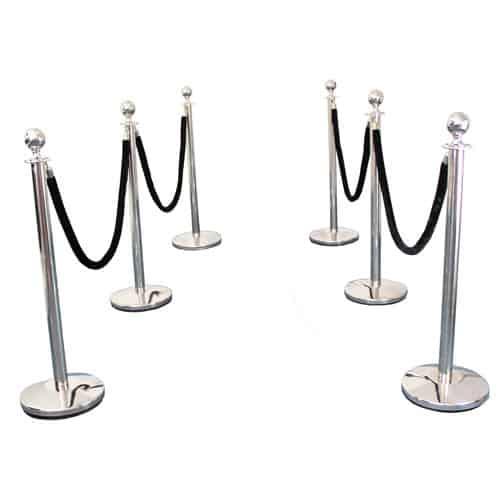 6 Prestige Chrome Poles With 4 Black Velvet Ropes