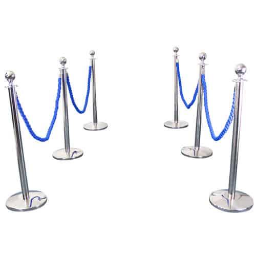 6 Prestige Chrome Poles With 4 Blue Braided Ropes