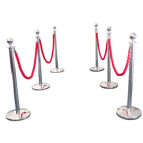 6 Prestige Chrome Poles With 4 Red Braided Ropes