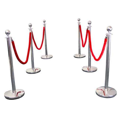 6 Prestige Chrome Poles With 4 Red Velvet Ropes