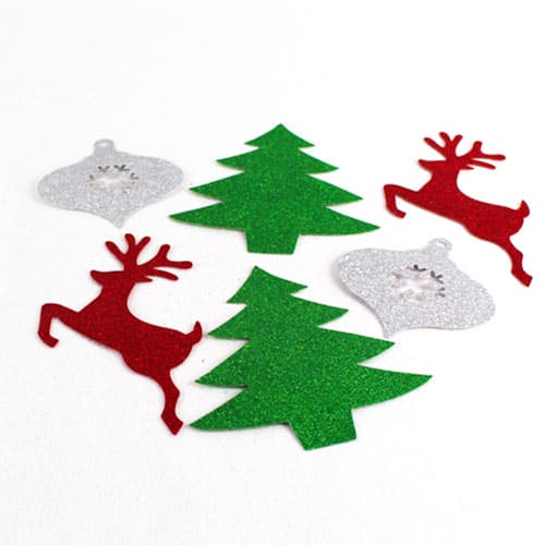 Assorted Christmas Mini Glitter Cutouts - Pack of 6 Product Image