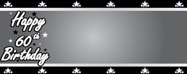 Happy 60th Birthday Silver Stars Design Small Personalised Banner- 4ft x 2ft