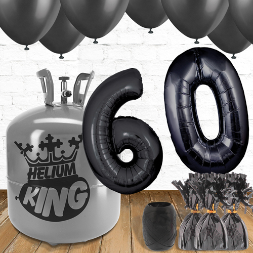 60th Birthday Helium Gas Package with Black Balloons Product Image