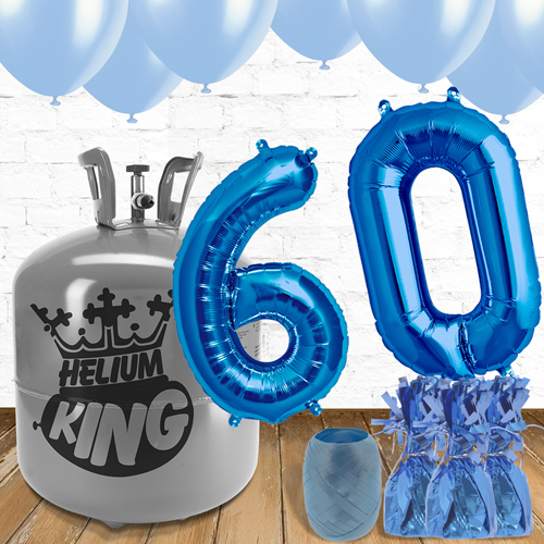 60th Birthday Helium Gas Package with Blue Balloons Product Image