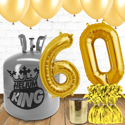 60th Birthday Helium Gas Package with Gold Balloons Product Image