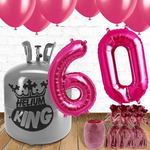 60th Birthday Helium Gas Package with Pink Balloons Product Image