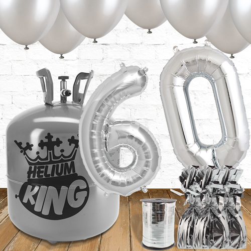 60th Birthday Helium Gas Package with Silver Balloons Product Image