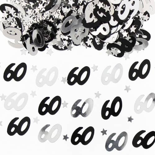 60th Birthday Black and Silver Table Confetti - 14 Grams Product Image