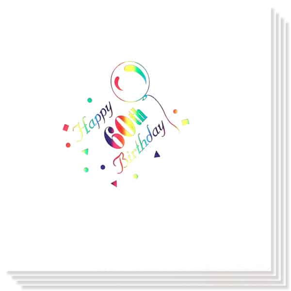 60th Birthday multi Coloured Foil Print 3 Ply Napkins - 13 Inches / 33cm - Pack of 15