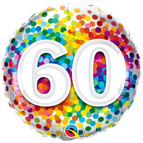 60th Birthday Rainbow Confetti Round Foil Helium Qualatex Balloon 46cm / 18 in Product Image