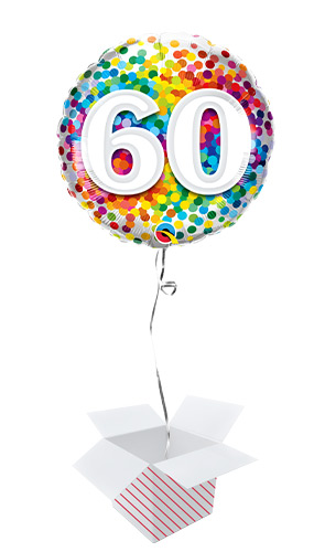 60th Birthday Rainbow Confetti Round Foil Helium Qualatex Balloon - Inflated Balloon in a Box