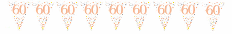 60th Birthday Rose Gold Holographic Foil Flag Bunting 3.9m