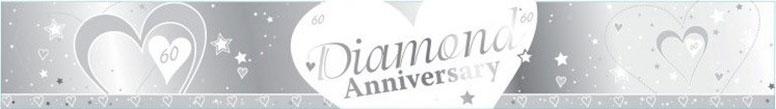60th Diamond Anniversary Foil Banner – 9 Ft / 274cm