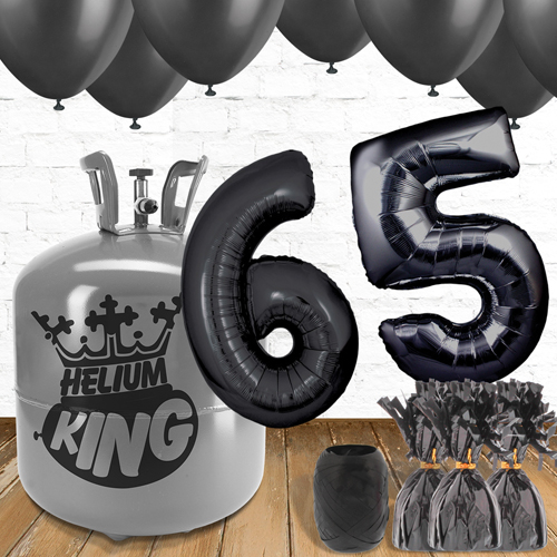 65th Birthday Helium Gas Package with Black Balloons Product Image