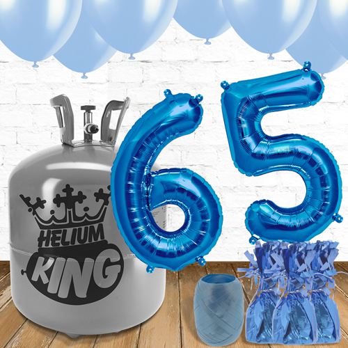 65th Birthday Helium Gas Package with Blue Balloons Product Image