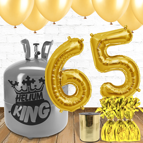 65th Birthday Helium Gas Package with Gold Balloons Product Image