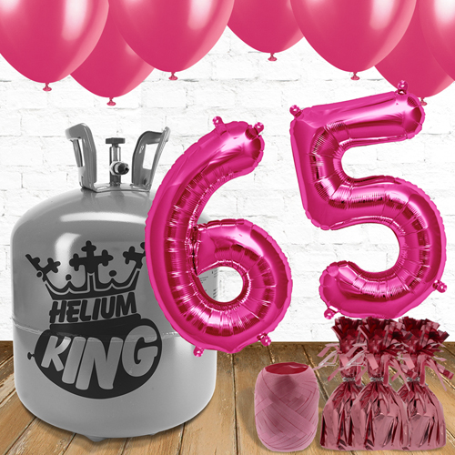 65th Birthday Helium Gas Package with Pink Balloons Product Image