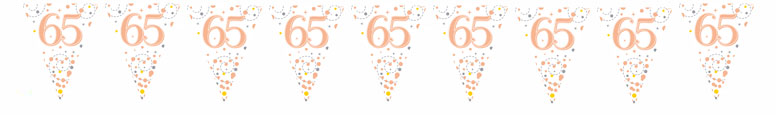 65th Birthday Rose Gold Holographic Foil Flag Bunting 3.9m Product Image