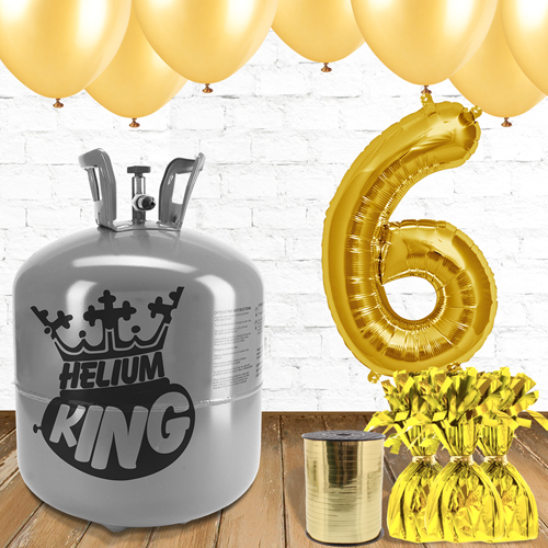 6th Birthday Helium Gas Package with Gold Balloons Product Image