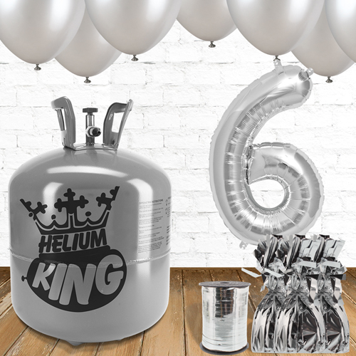 6th Birthday Helium Gas Package with Silver Balloons Product Image