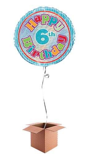 Happy 6th Birthday Holographic Round Foil Balloon - Inflated Balloon in a Box