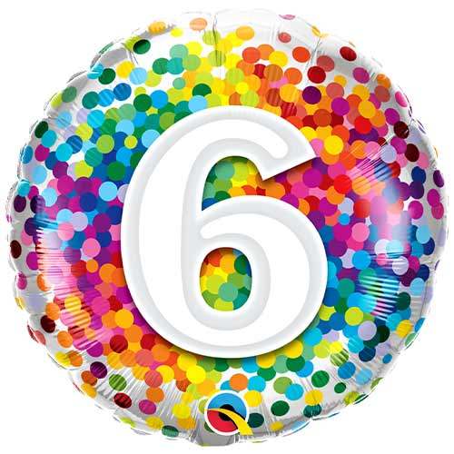 6th Birthday Rainbow Confetti Round Foil Helium Qualatex Balloon 46cm / 18 in Product Image