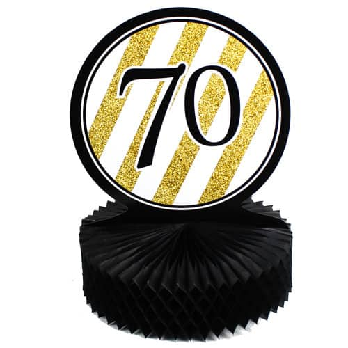 70 Black And Gold Honeycomb Centrepiece - 30cm