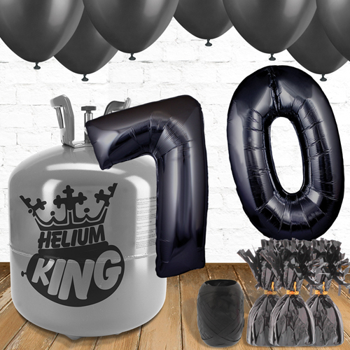 70th Birthday Helium Gas Package with Black Balloons Product Image