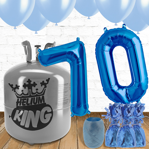 70th Birthday Helium Gas Package with Blue Balloons Product Image