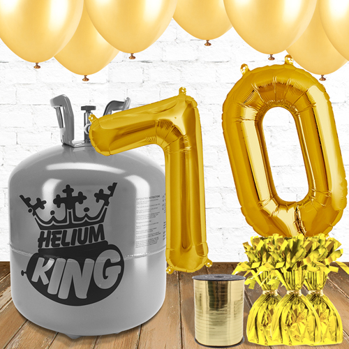 70th Birthday Helium Gas Package with Gold Balloons Product Image
