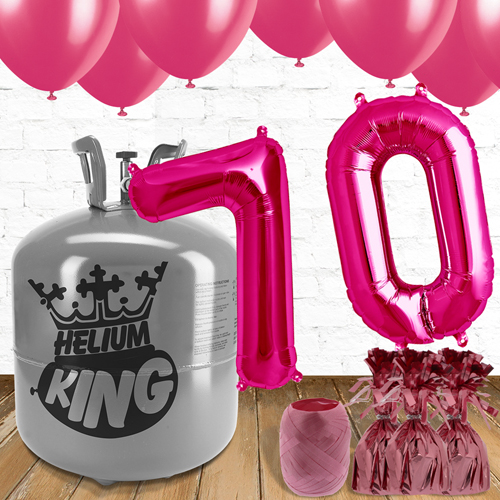 70th Birthday Helium Gas Package with Pink Balloons Product Image