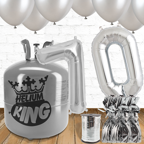 70th Birthday Helium Gas Package with Silver Balloons Product Image