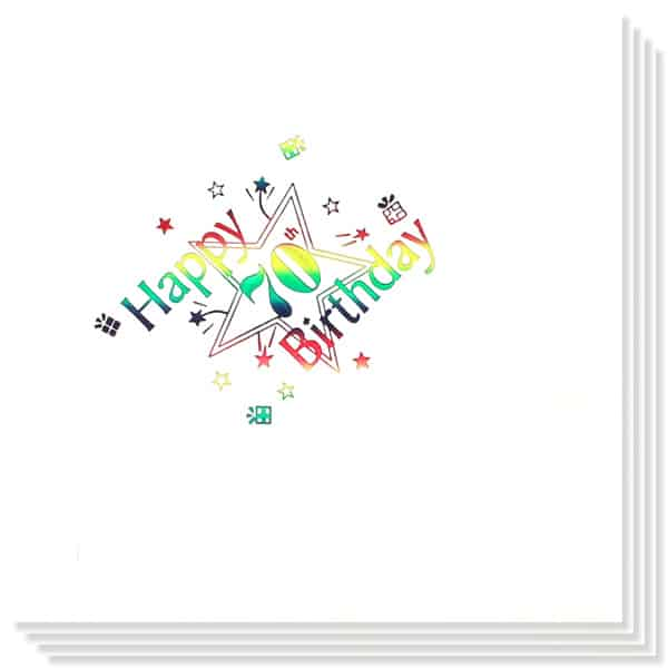 70th Birthday multi Coloured Foil Print 3 Ply Napkins - 13 Inches / 33cm - Pack of 15