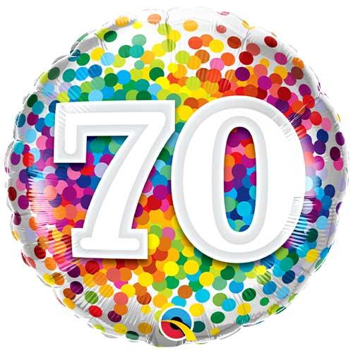 70th Birthday Rainbow Confetti Round Foil Helium Qualatex Balloon 46cm / 18 in