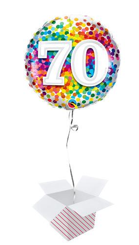 70th Birthday Rainbow Confetti Round Foil Helium Qualatex Balloon - Inflated Balloon in a Box