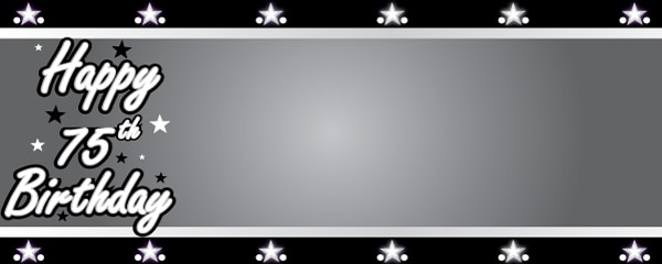 Happy 75th Birthday Silver Stars Design Small Personalised Banner- 4ft x 2ft