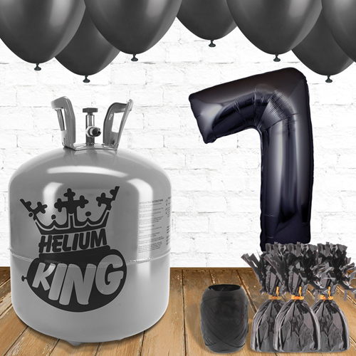 7th Birthday Helium Gas Package with Black Balloons Product Image