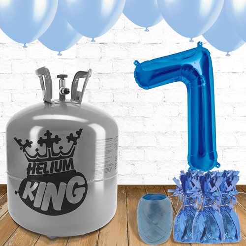 7th Birthday Helium Gas Package with Blue Balloons Product Image