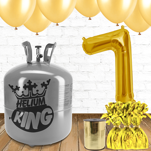 7th Birthday Helium Gas Package with Gold Balloons Product Image