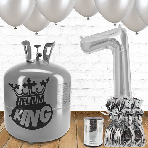 7th Birthday Helium Gas Package with Silver Balloons Product Image