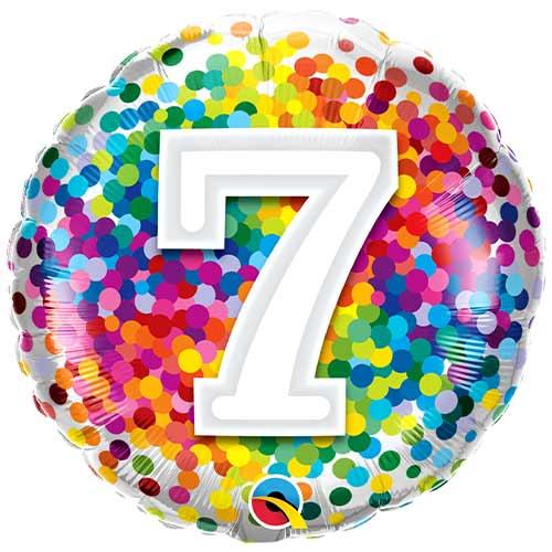 7th Birthday Rainbow Confetti Round Foil Helium Qualatex Balloon 46cm / 18 in Product Image