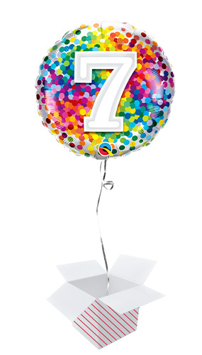 7th Birthday Rainbow Confetti Round Foil Helium Qualatex Balloon - Inflated Balloon in a Box