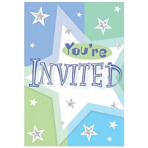 Birthday Shimmer Invitations with Envelopes - Pack of 8