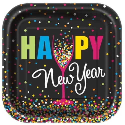 Confetti New Year Square Paper Plate 22cm